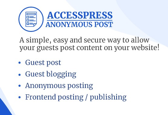 Frontend Post WordPress Plugin – AccessPress Anonymous Post
